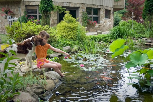 Waterscapes - Girl-w-Dog-by-Pond